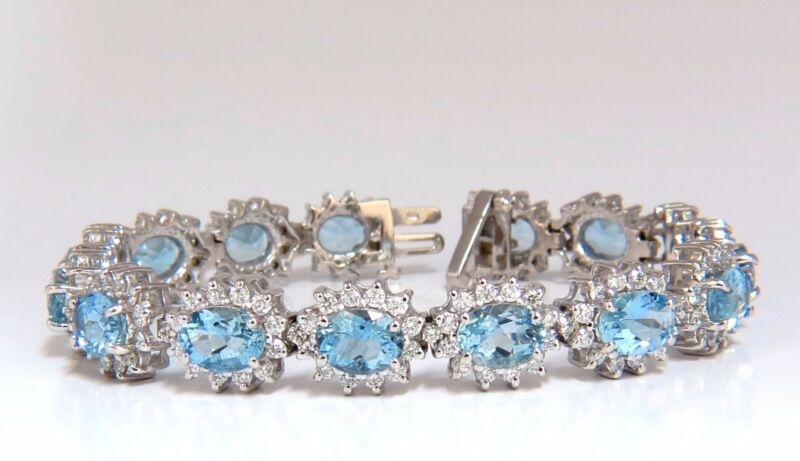 $21000 22ct. Natural Aquamarines Diamonds Bracelet 14kt G.vs 7 Inch