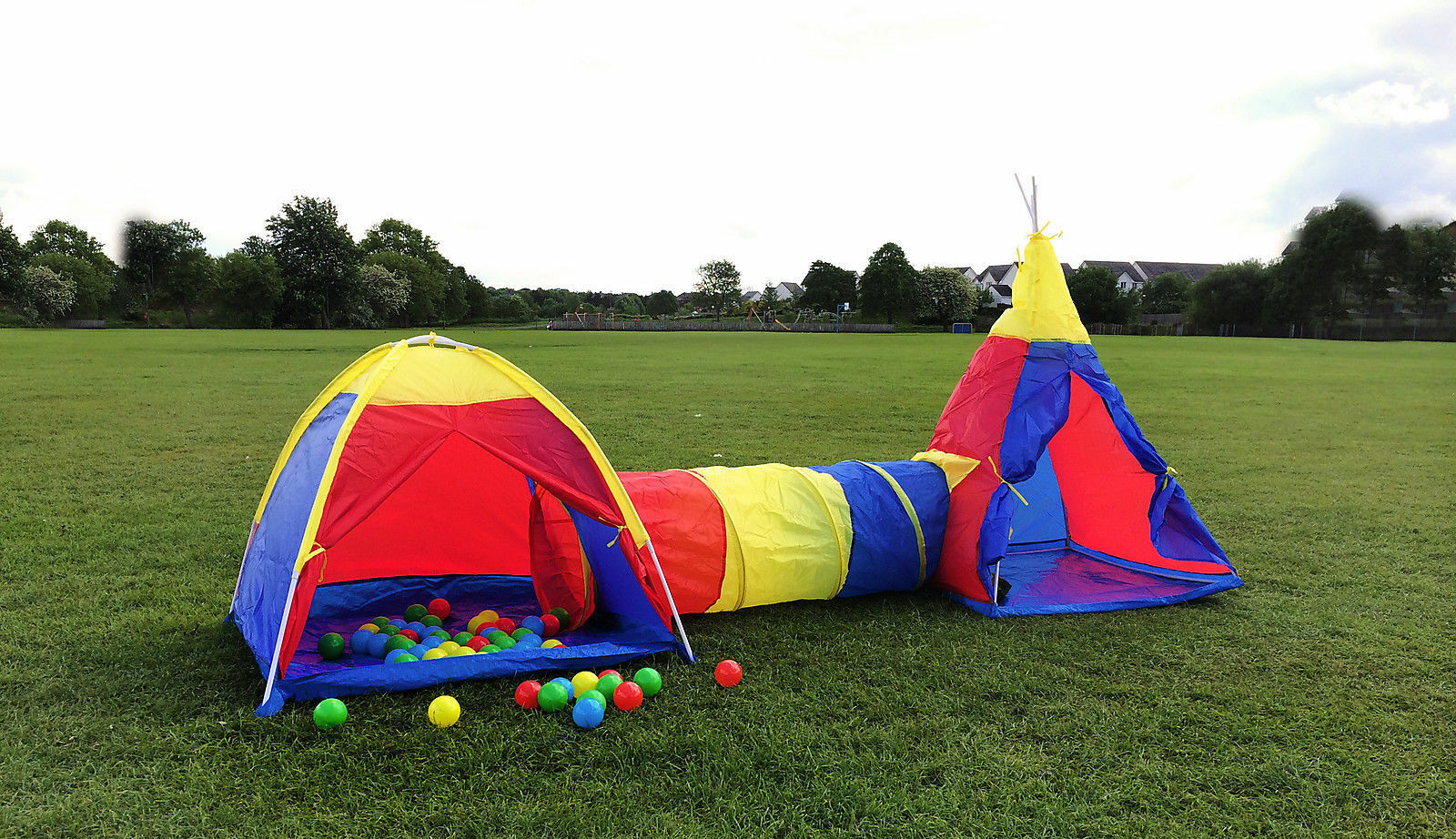 Kids 3 In 1 Tent Tunnel Teepee Set Children Play Ball