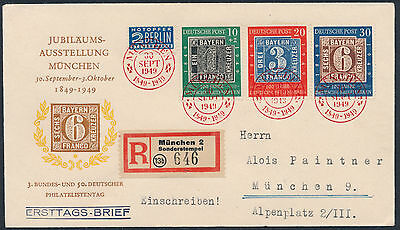 Bund 100 Jahre Deutsche Briefmarken 1949 Einschreiben Ersttagsbrief (S13667)