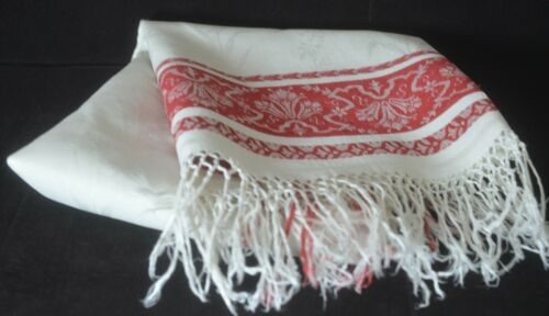 Vintage Antique Red Work with Damask SHOW TOWEL VV250