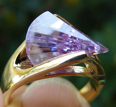 Cz Ring Lazer Cut Sparkling Lavender Hge Gold Finish Multi Faceted Stone
