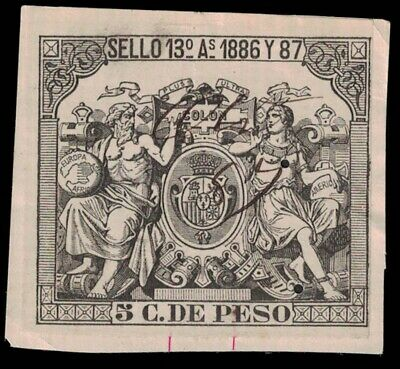 1886/87 SPAIN Revenue Stamp - Sello 13 A, 5 C De Peso (on Paper) A16G