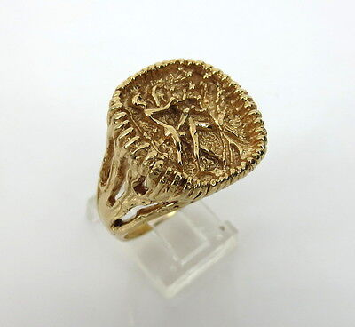 Vintage Adam & Eve Erotic Scene Hand Made 14K Gold Ring Size 10.75