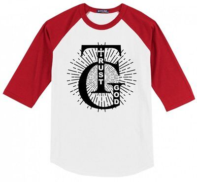Trust God Religious Mens Raglan Jersey Christian God Prayer Faith Religion X1 (Religious Jerseys)