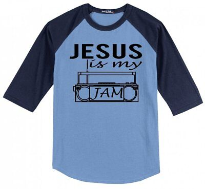 Jesus Is My Jam T Shirt Religious Christian Music Mens Raglan Jersey Tee X1 (Religious Jerseys)