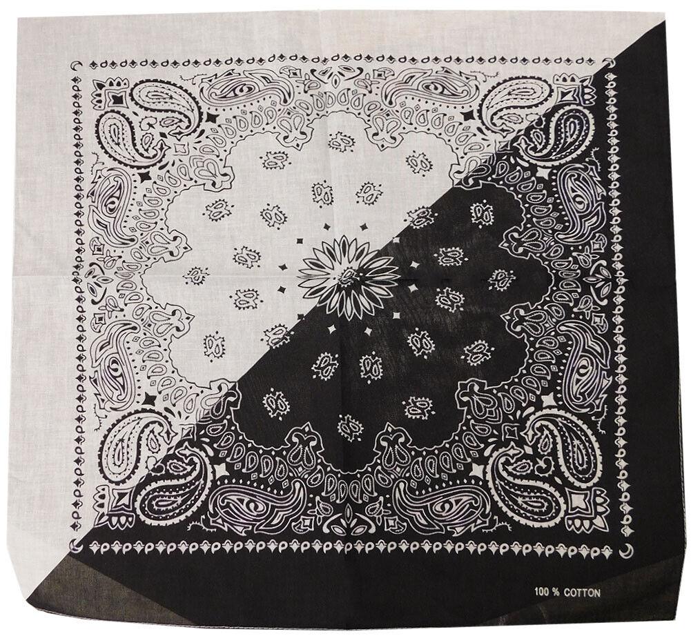 "6 Pack Black & White Split Diagonal Paisley 22""x22"" 100% Cot"