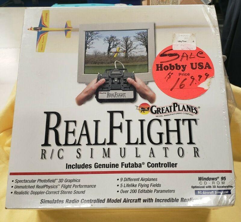 VINTAGE NEW GREAT PLANES REALFLIGHT SIMULATOR w/ FUTABA CONTROLLER FOR WIN95!