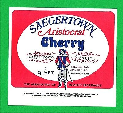 Saegertown Aristocrat Cherry Soda Bottle Label Pa
