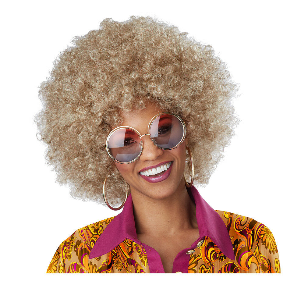 Dirty Blonde Foxy Mama 70/'s Disco Afro Adult Costume Wig