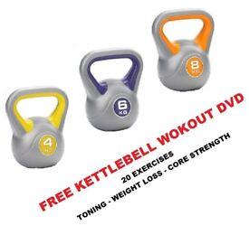 Kettlebell Set 4-6-8kg Fitness Weights Vinyl Kettlebells Free DVD: NEW