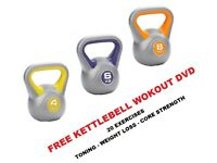 Kettlebell Set 4-6-8kg Fitness Weights Vinyl Kettlebells Free DVD NEW
