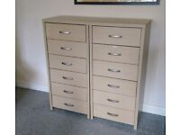 2 x 6 Drawer Ikea Maple/Ash effect Filing Cabinets