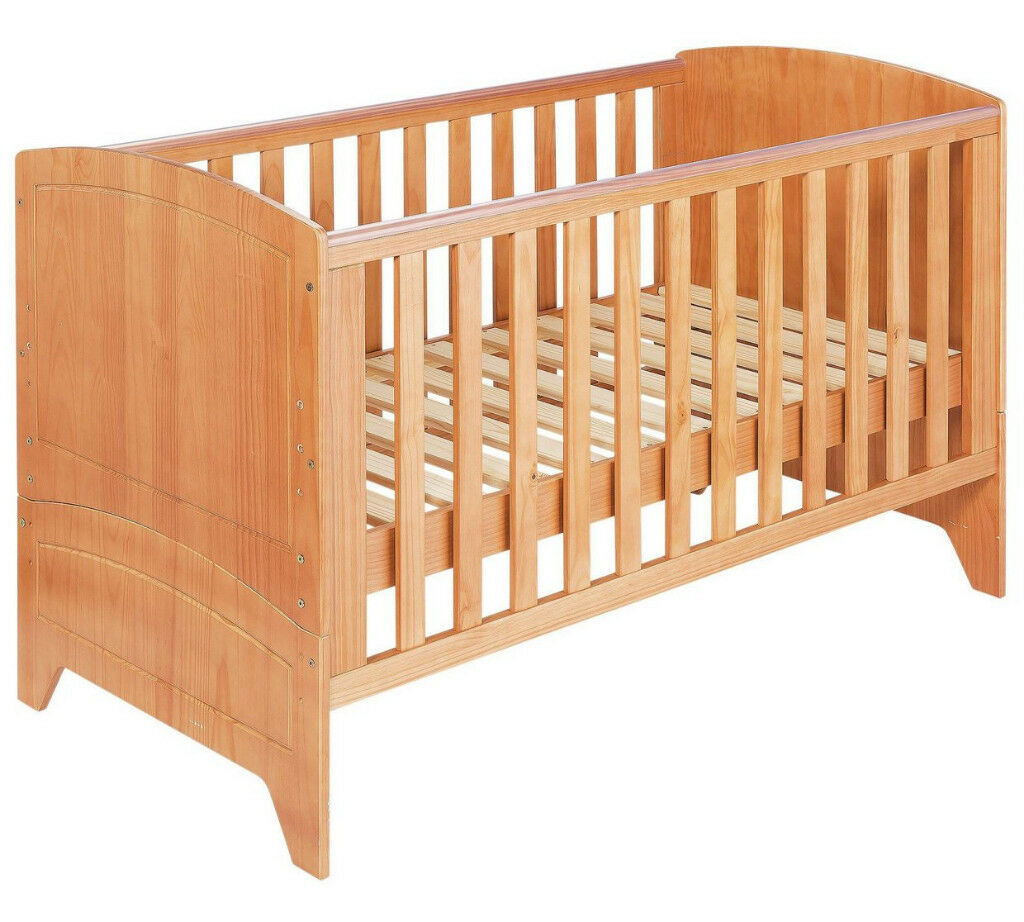 BabyStart Oxford Cot Bed - Pine with Oak Finish
