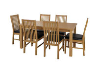 HOME Ashdon Solid Wood Table & 6 Paris Chairs - Black