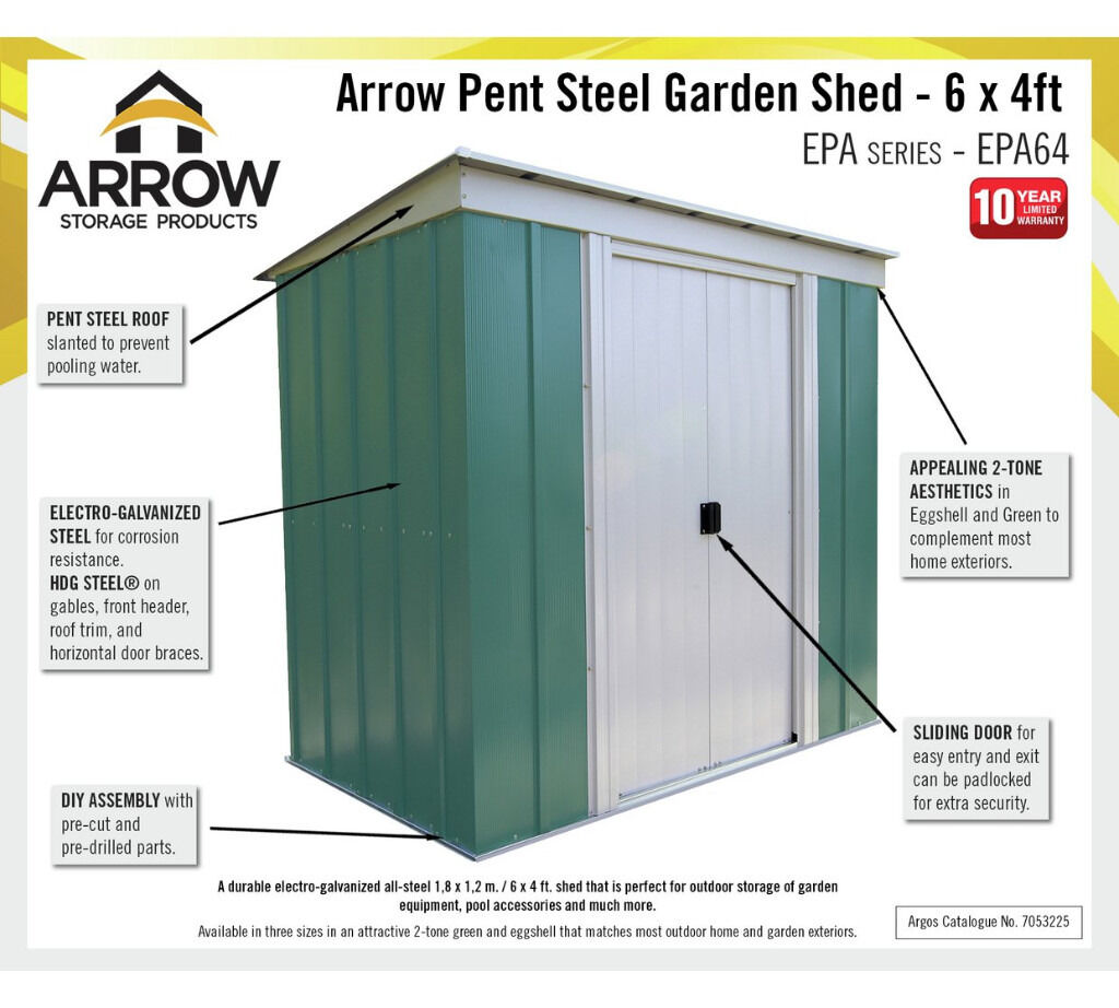 arrow pent metal garden shed 6 x 4ft unbuilt and unused