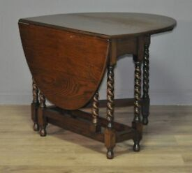 Attractive Small Vintage Oak Barley Twist Turned Gate Leg Drop Leaf Side Table