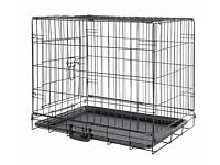 Small black dog crate - 53 x 77 x 49cm complete with full-size mat.