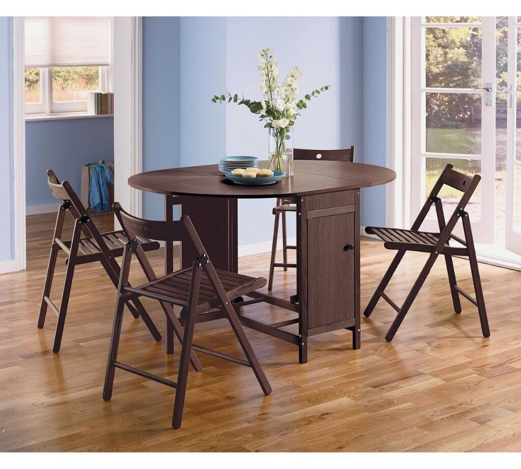 Argos Fold Away Table And Chairs: Folding Wooden Table Set, With 4 Chairs. In Dark Brown