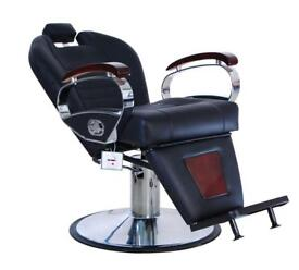 NEW HEAVY DUTY REAL LEATHER BLACK BARBER CHAIR BC-06 UK STOCK HADI®