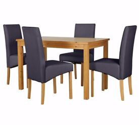 Ex Display Lincoln Solid Wood Table & 4 Skirted Chairs - Charcoal