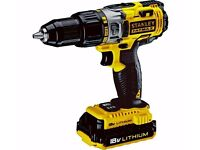 Brand new Stanley Fatmax Lithium Ion Cordless Hammer Drill with 2 x 1.3Ah Battery - 18V
