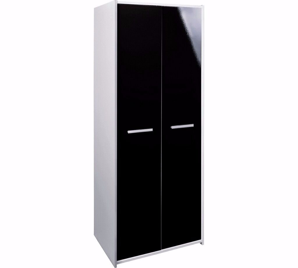 Sywell 2 Door Wardrobe - White and Black Gloss (EX-DISPLAY)