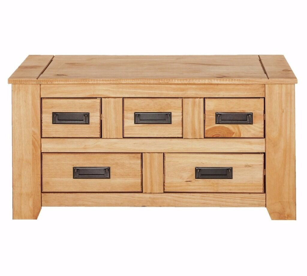 Storage Coffee Table Pine: Ex Display Penton Storage 5 Drawer Coffee Table