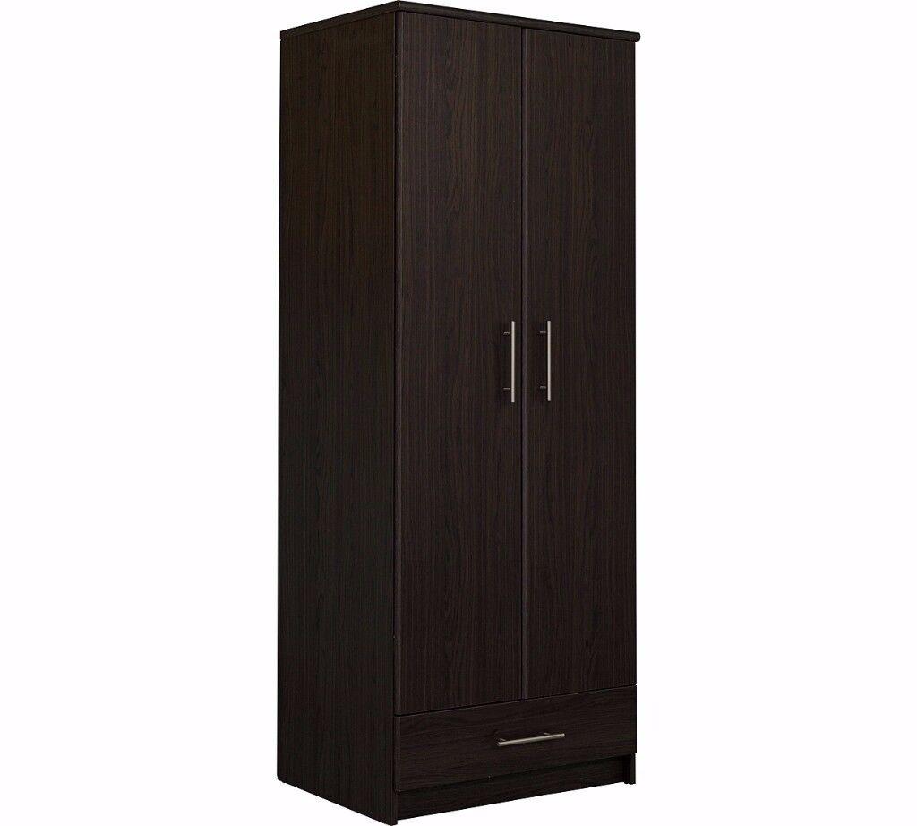 Normandy 2 Door 1 Drawer Wardrobe - Dark Oak Effect