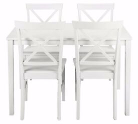 Ex display Jessie Dining Table & 4 Solid Wood Chairs - White