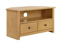 HOME Porto Solid Wood Corner TV Unit - Oak Effect