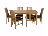 Ex Display Ashdon Solid Wood Table & 6 Paris Chairs - Black