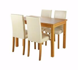 Ex display Ashdon Solid Wood Table & 4 Mid Back Chairs - Cream