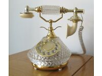 REAL GLASS CRYSTAL FRENCH TELEPHONE - SIECLE COLLECTION - UNIQUE - WORKS GREAT!