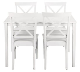 HOME Jessie Dining Table and 4 Solid Wood Chairs - White