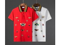 GUCCI Embroidered stretch-cotton blend piqué polo shirt - WHITE OR RED SMALL, MEDIUM, LARGE - tags