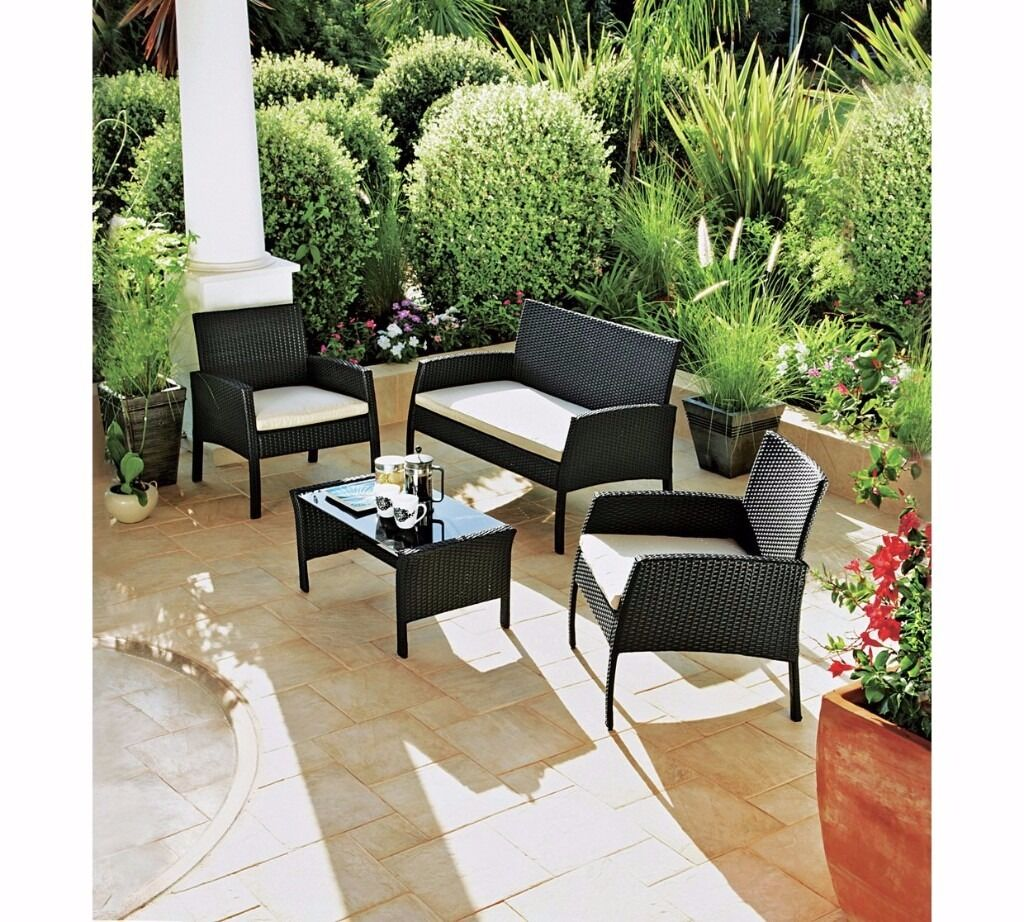 Rattan effect 4 seater garden patio furniture set black for Outdoor furniture 4 seater