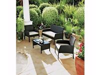 Rattan Effect 4 Seater Garden Patio Furniture Set - Black 401.