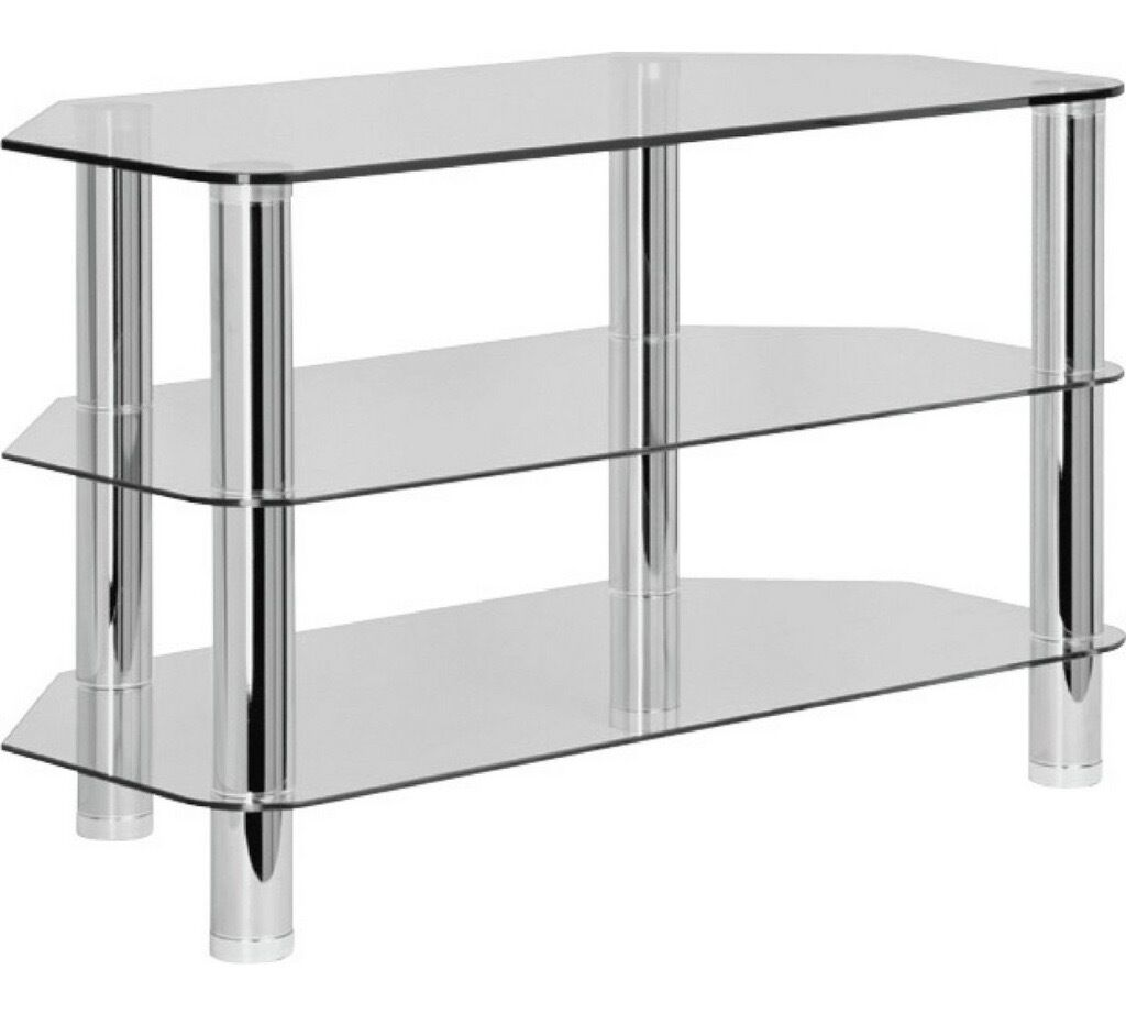Glass TV table standing in Victoria London
