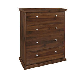 HOME Canterbury 4 Drawer Wide Chest of Drawers-Walnut Effect