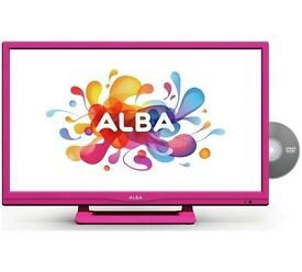 "Pink Alba 24"" Inch HD Ready Freeview LED TV DVD Player Combi USB PVR HDMI 12 Months Warranty"