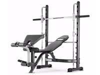 Multi Gym Smith Machine weights bench arm leg curl equipment + weights