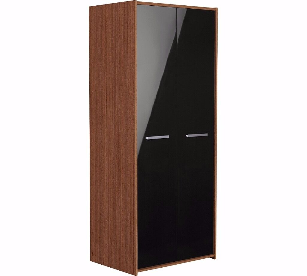 Sywell 2 Door Wardrobe-Walnut Effect & Black Gloss (EX-DISPLAY)