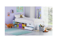 HOME Callum Cabin Bed Frame and Pull out Desk - White