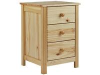 HOME New Scandinavia 3 Drawer Bedside Chest - Pine
