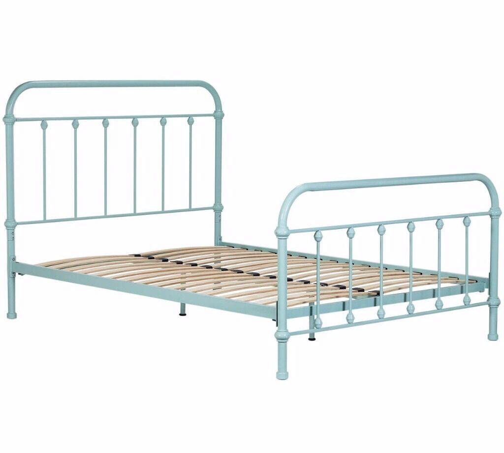 Betsy Vintage Hospital Double Bed Frame Duck Egg Ex Display