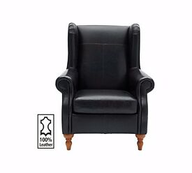Heart of House Argyll Leather Chair - Black