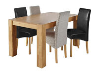 Heart of House Alston Oak Table & 2 Black 2 Floral Chairs