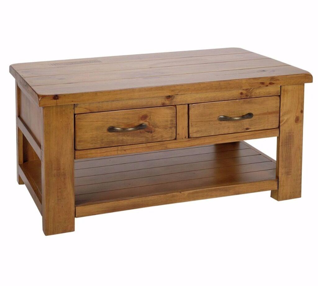 Arizona 2 Drawer 1 Shelf Coffee Table - Pine (NEW)