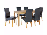 Ex diplay Ashdon Solid Wood Table & 6 Skirted Chairs - Black
