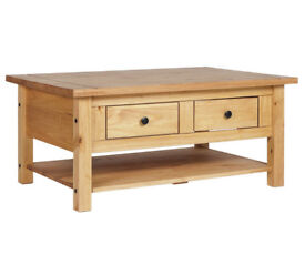 HOME San Diego 2 Drawers 1 Shelf Coffee Table - Pine